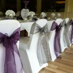 events chair covers made with trilobal stretch fabrics