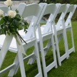Garden wedding with wimbledon chairs