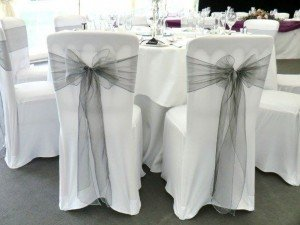 chair covers with silver sashes